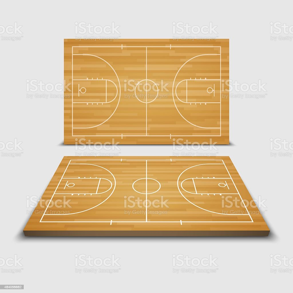 Vector Basketball Field.vector vector art illustration