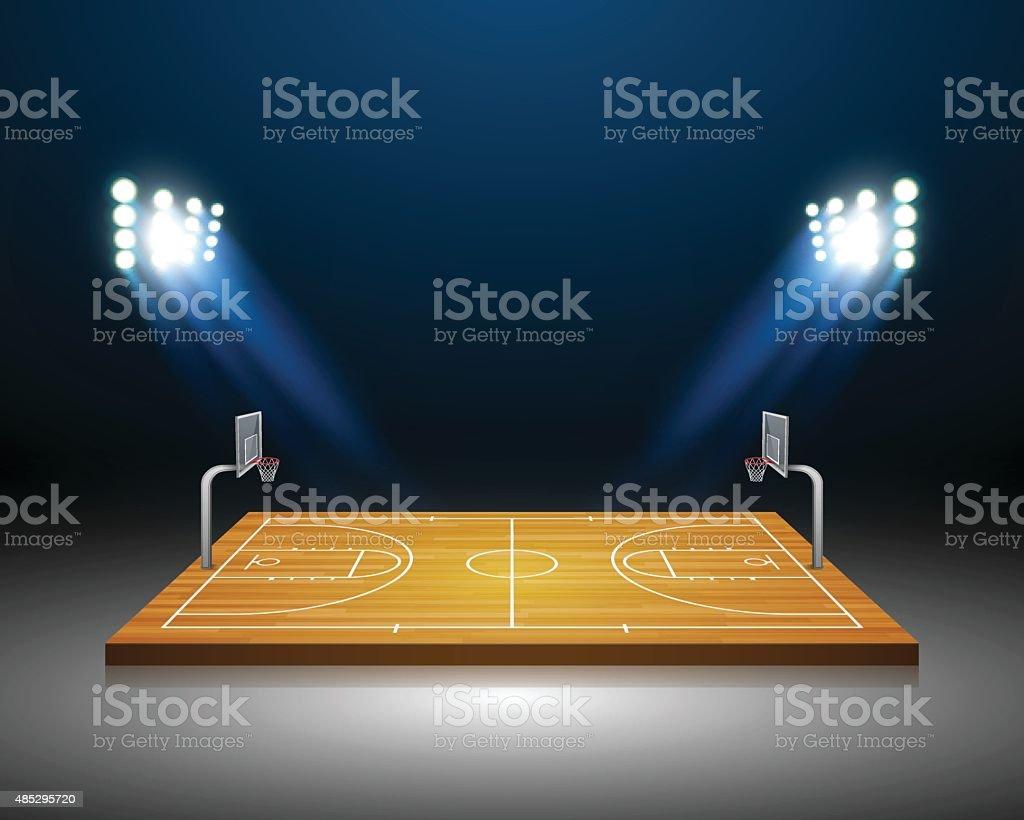 Vector Basketball Field.vector向量藝術插圖