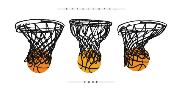 Vector basketball hoop with the ball. Collection of sports elements for the design of banners, posters, flyers. Vector hoop with the ball. Basketball elements for the design of banners, posters. basketball hoop stock illustrations