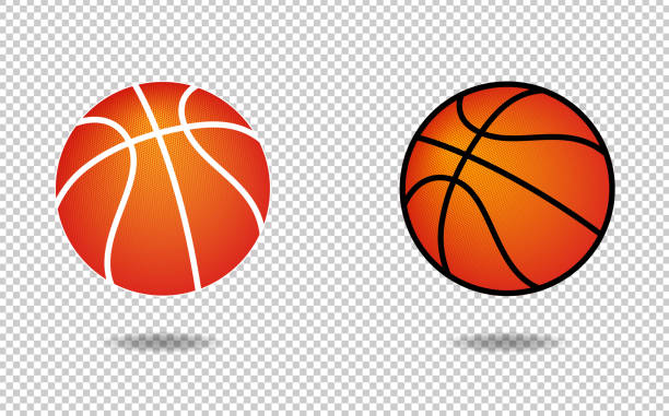 Vector basketball icon with halftone pattern Vector basketball icon with halftone pattern basketball stock illustrations