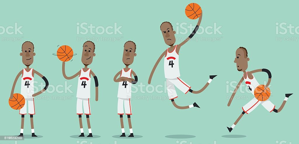 Vector basketball player in various poses vector art illustration