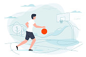 Vector illustration - basketball player. Man with ball on playground with hills and forest on background. Banner, poster template with place for your text.