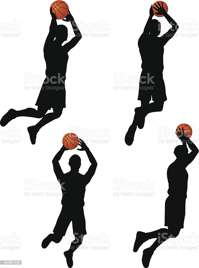 vector basketball players silhouette collection in slam position vector art illustration