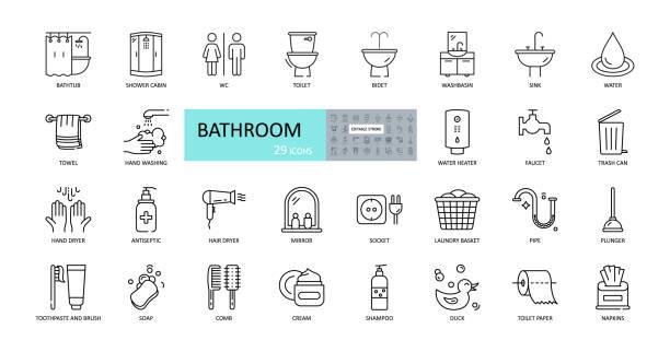 ilustrações, clipart, desenhos animados e ícones de ícones do banheiro vetorial. curso editável. chuveiro, banho, banheiro, bidemte, espelho, torneira de água. roupa suja e cesta de lixo. creme de pente de shampoo cosmético. guardanapos de papel higiênico - banheiro instalação doméstica