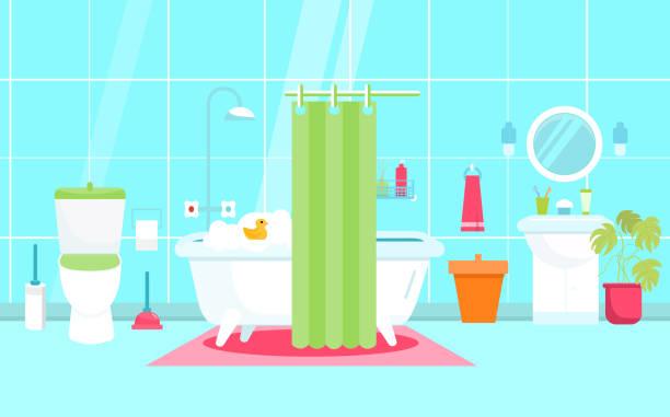 vektor-illustration bad im flachen stil mit wc, ente. dusche-möbel. sanitäre einrichtung. - spiegelfliesen stock-grafiken, -clipart, -cartoons und -symbole