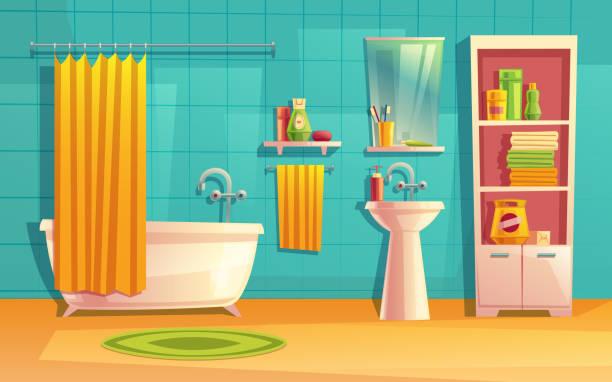 vektor-bad, zimmer mit möbeln, badewanne - spiegelfliesen stock-grafiken, -clipart, -cartoons und -symbole