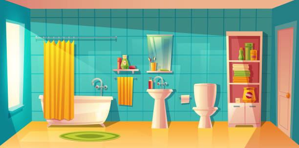 vektor badezimmer interieur, zimmer mit möbeln - spiegelfliesen stock-grafiken, -clipart, -cartoons und -symbole