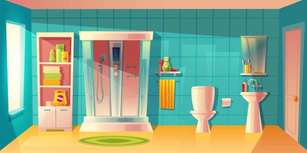 vektor badezimmer interieur, duschkabine und waschbecken - spiegelfliesen stock-grafiken, -clipart, -cartoons und -symbole