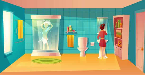 vektor-badezimmer-interieur mit mann und frau - spiegelfliesen stock-grafiken, -clipart, -cartoons und -symbole