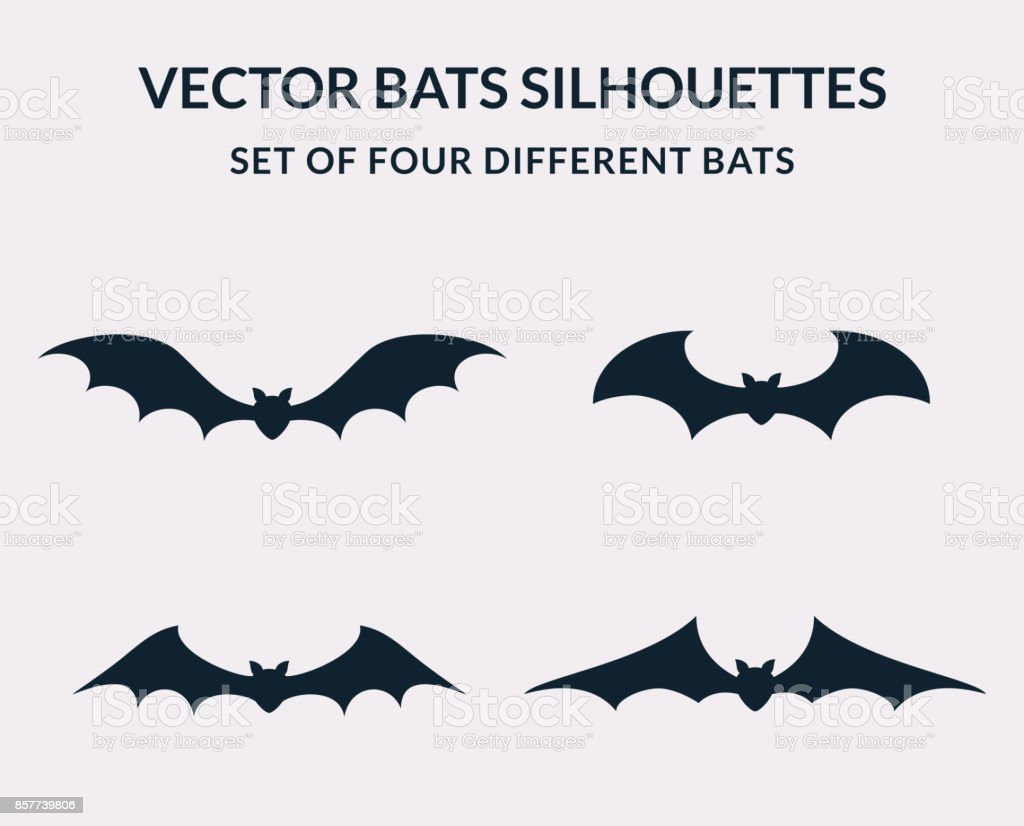 Vector bats silhouettes. vector art illustration