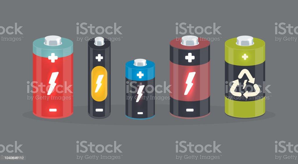 Vector battery cylinder elements with lightning vector art illustration