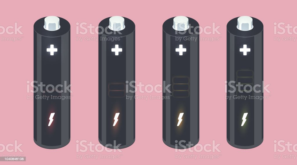 Vector battery element with charging indicator vector art illustration