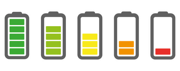 Vector battery icon. Charge from high to low. Vector battery icon. Charge from high to low mississauga stock illustrations