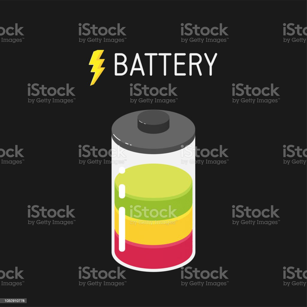 Vector battery illustration with three segments - red, yellow and green векторная иллюстрация