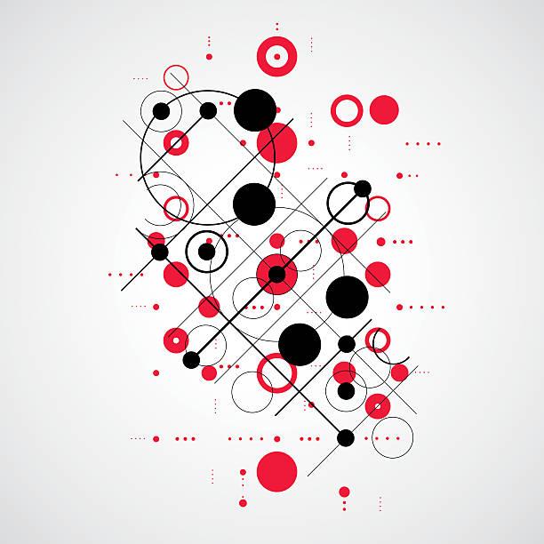 vector bauhaus abstract red background made with grid - bauhaus stock-grafiken, -clipart, -cartoons und -symbole