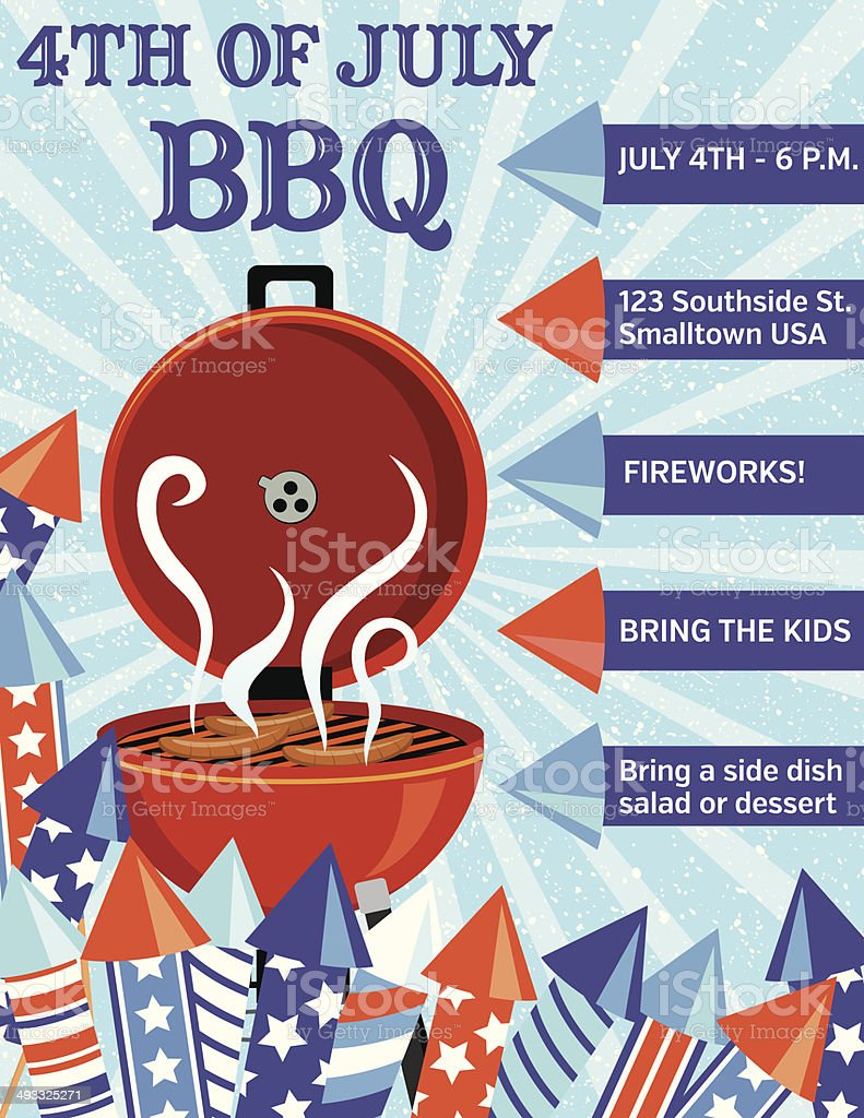 Vector BBQ invitation for July 4th party vector art illustration