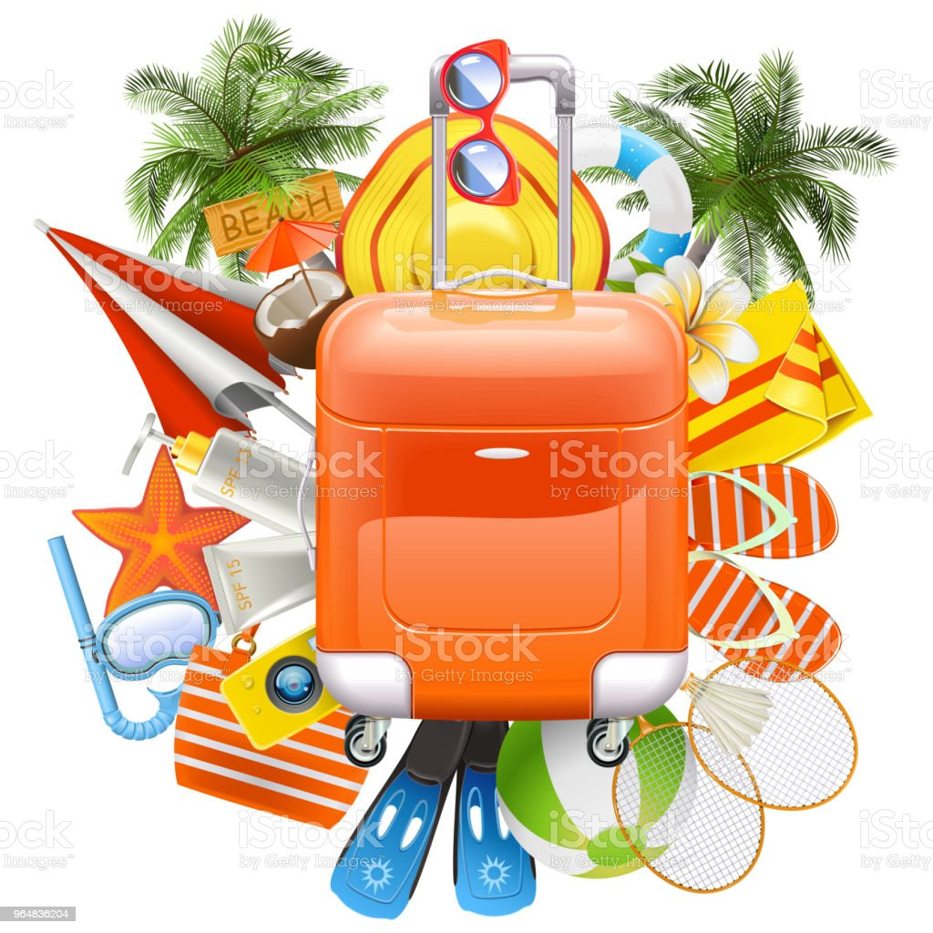 Vector Beach Accessories with Rolling Bag royalty-free vector beach accessories with rolling bag stock vector art & more images of activity