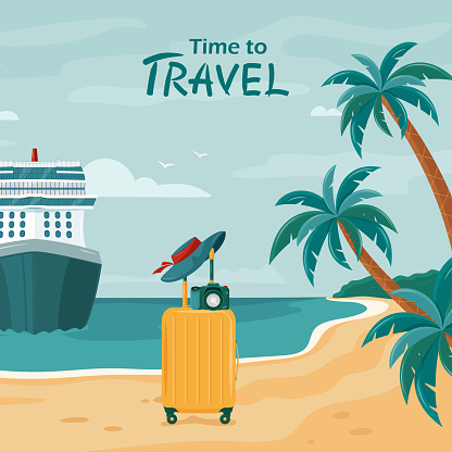 Vector beach background with palm trees, cruise ship and suitcase.