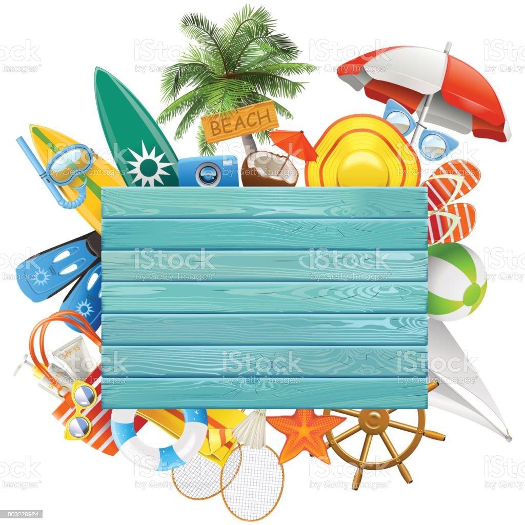 青色のボードをベクトル ビーチ コンセプト ベクターアートイラスト