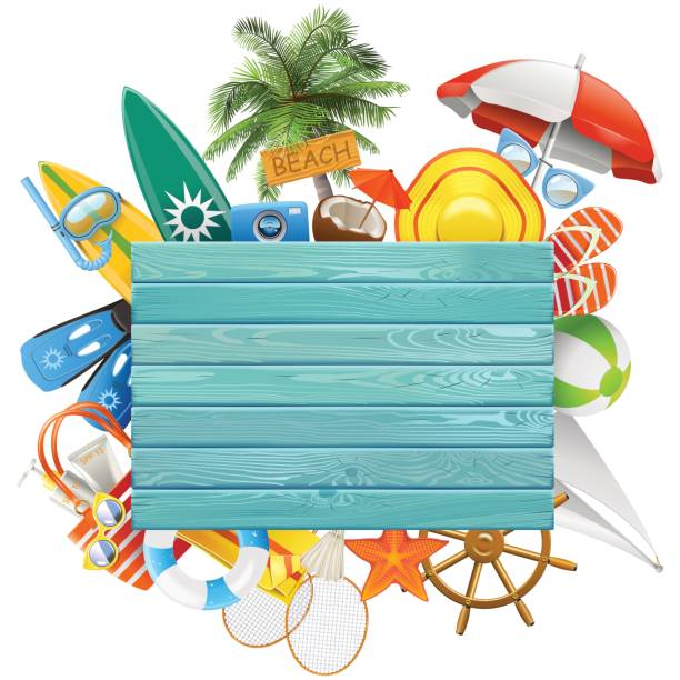 Vektor-Strand-Konzept mit blauen Brett – Vektorgrafik