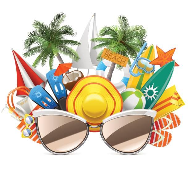 Vektor-Strand-Konzept mit Sonnenbrille – Vektorgrafik