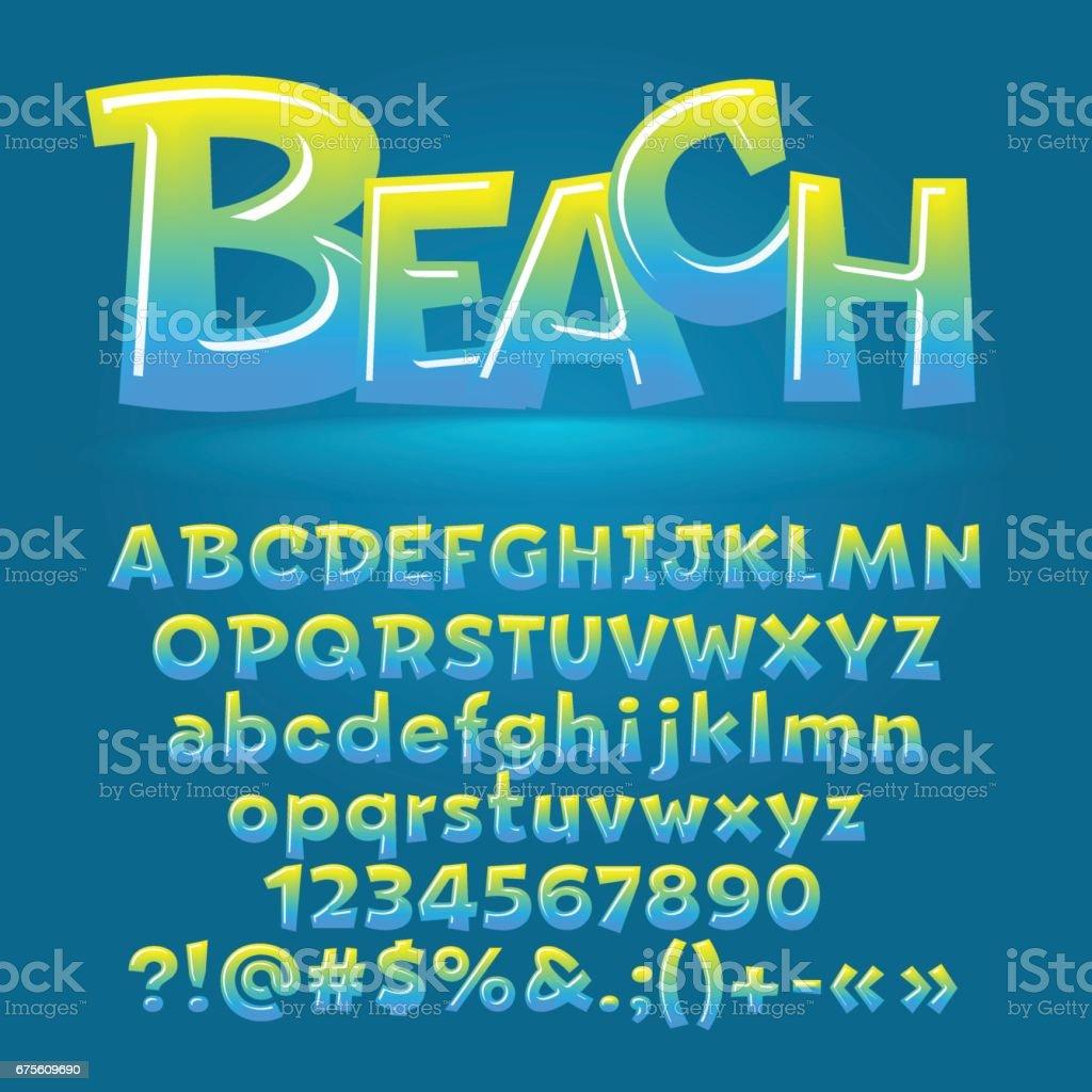 Vector beach glossy letters, number, symbols vector beach glossy letters number symbols - arte vetorial de stock e mais imagens de alfabeto royalty-free