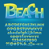 Vector beach glossy letters, number, symbols