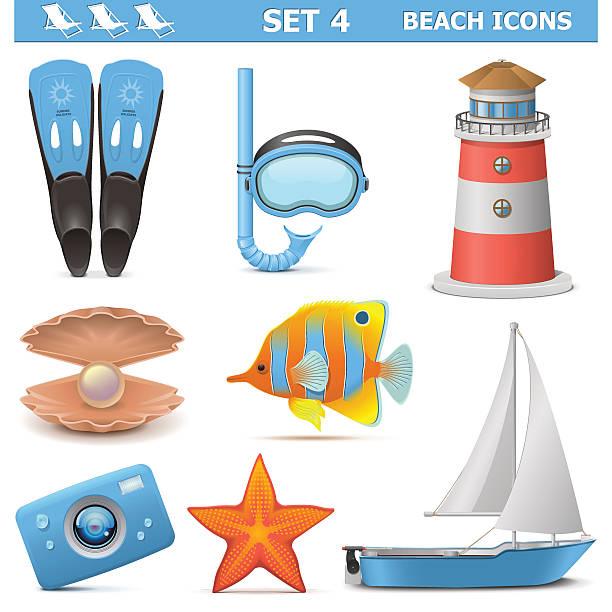 illustrazioni stock, clip art, cartoni animati e icone di tendenza di vettore spiaggia icone set 4 - immerse in the stars