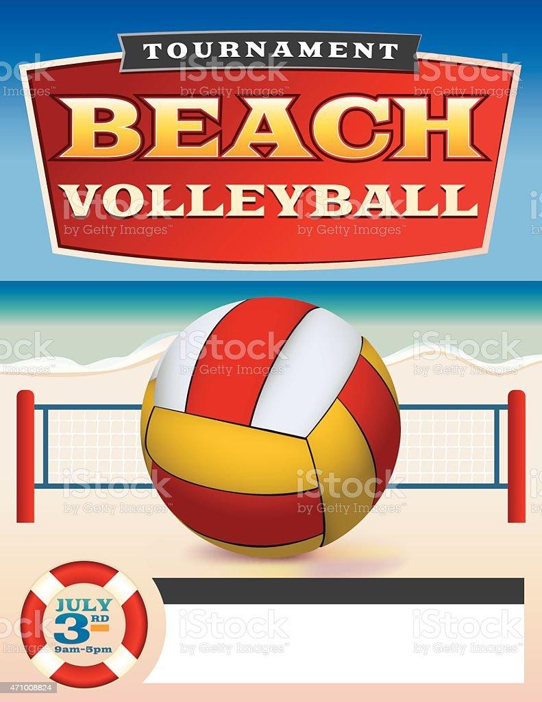 15294a069 Vetor de voleibol de praia Torneio Flyer ilustração vetor de voleibol de  praia torneio flyer ilustração