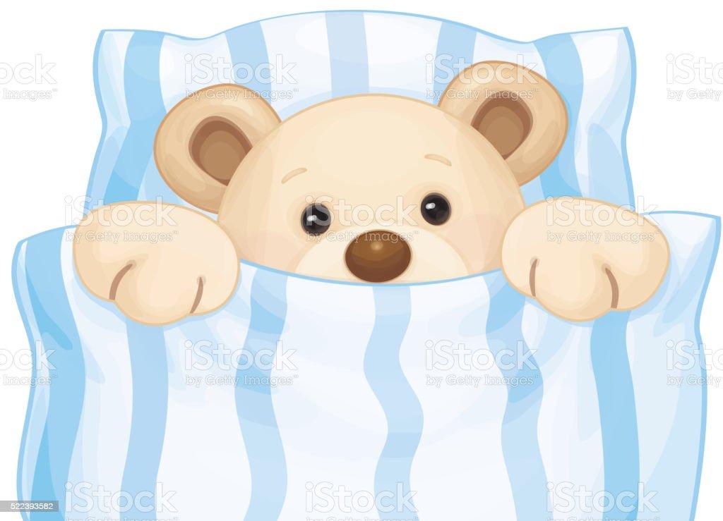 Vector bear in bed. vector art illustration