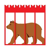 Vector Bear in Zoo cage. Flat style colorful Cartoon illustration.