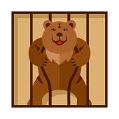 Vector Bear in Zoo cage. Strong Scary wild animal in