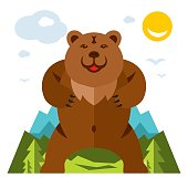 Vector Bear standing on the feet. Flat style colorful Cartoon