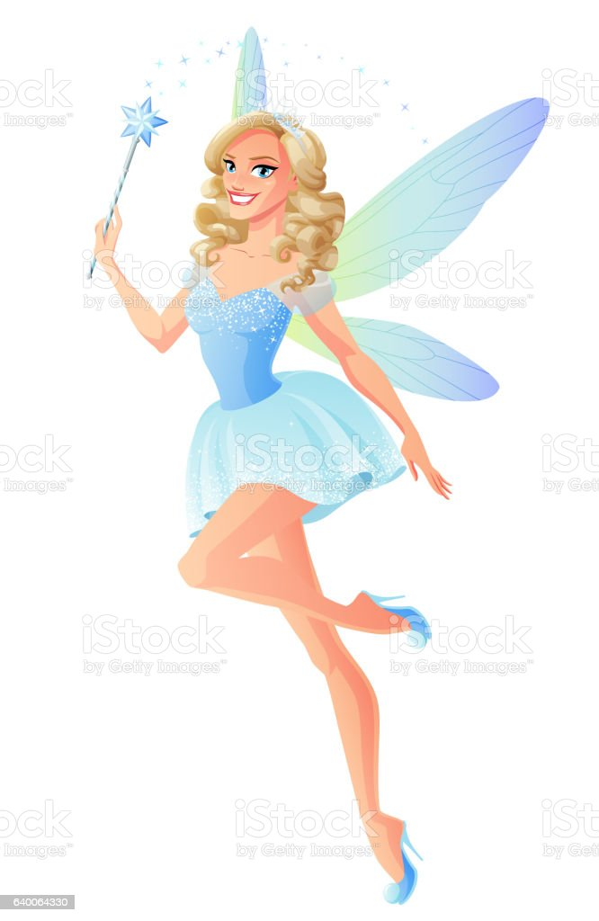 Vector beautiful blue fairy with magic wand and dragonfly wings. vector art illustration