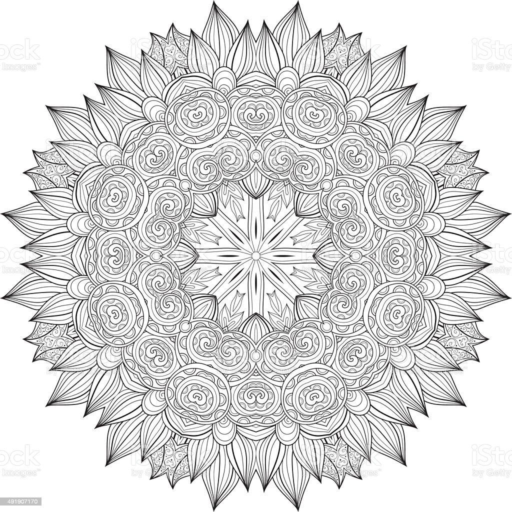Vector Hermosa Decoración Negro Mandala Illustracion Libre de ...