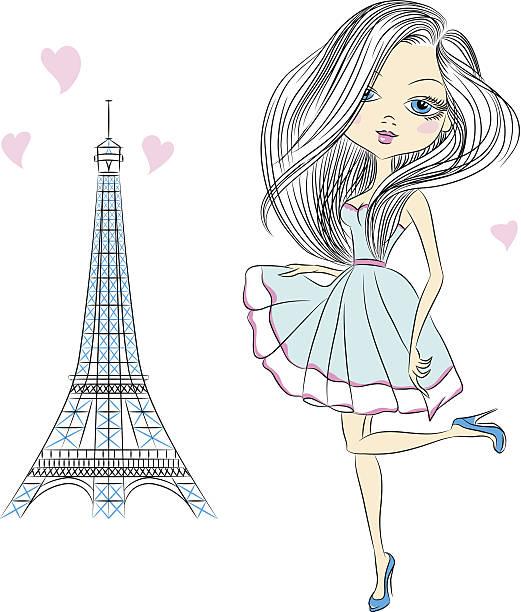 ilustrações, clipart, desenhos animados e ícones de vector linda menina da moda em paris - viagem de primeira classe