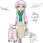 Vector beautiful fashion girl in winter clothes with suitcases, cute dog and cat travel the world on airplanes