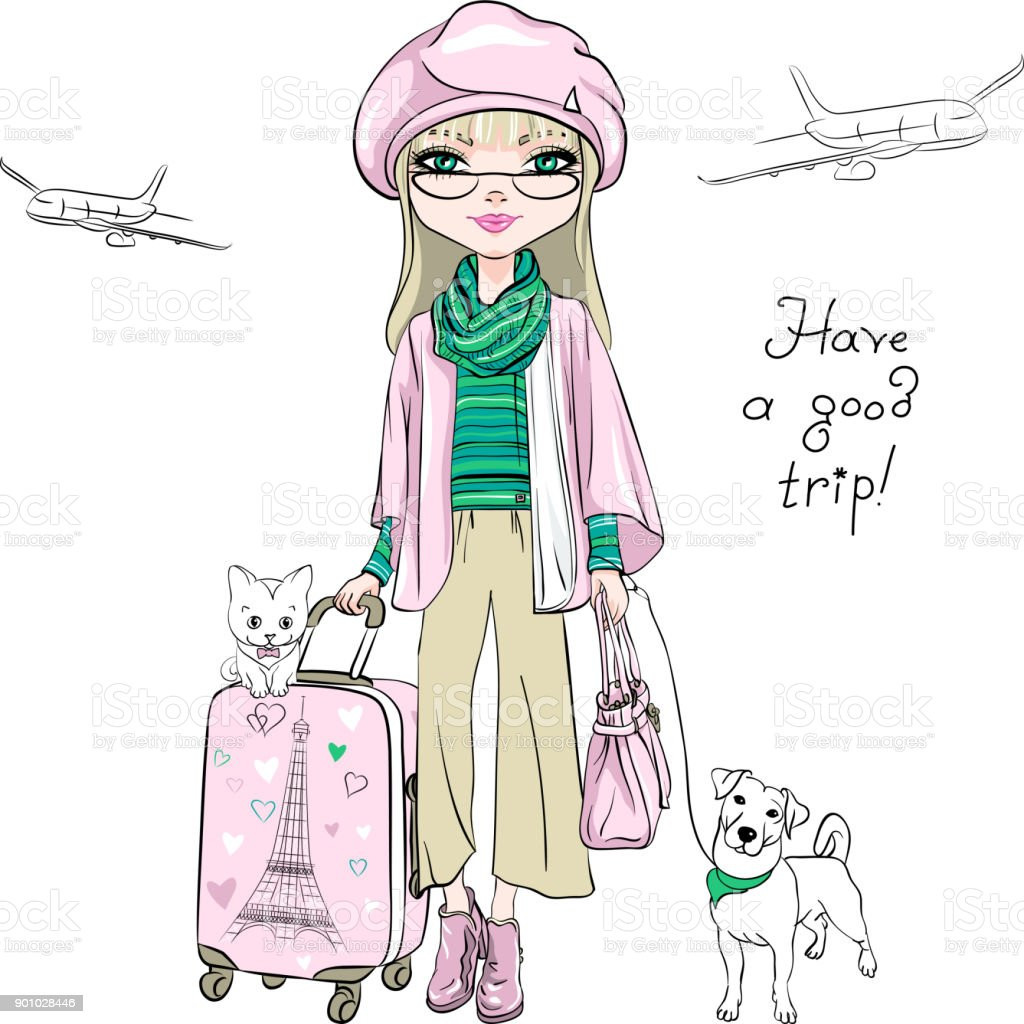 Vector beautiful fashion girl travels the world vector art illustration