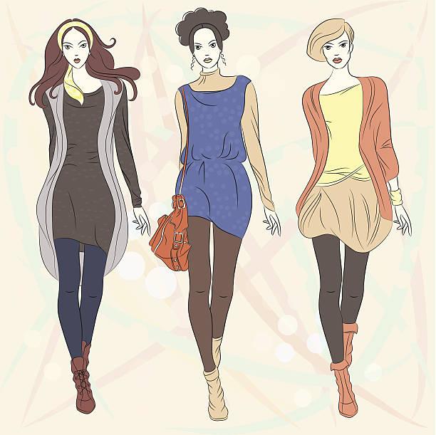 vektor-schöne mode mädchen top-models - pastellhosen stock-grafiken, -clipart, -cartoons und -symbole
