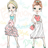 Two beautiful fashion girls top model in summer dresses