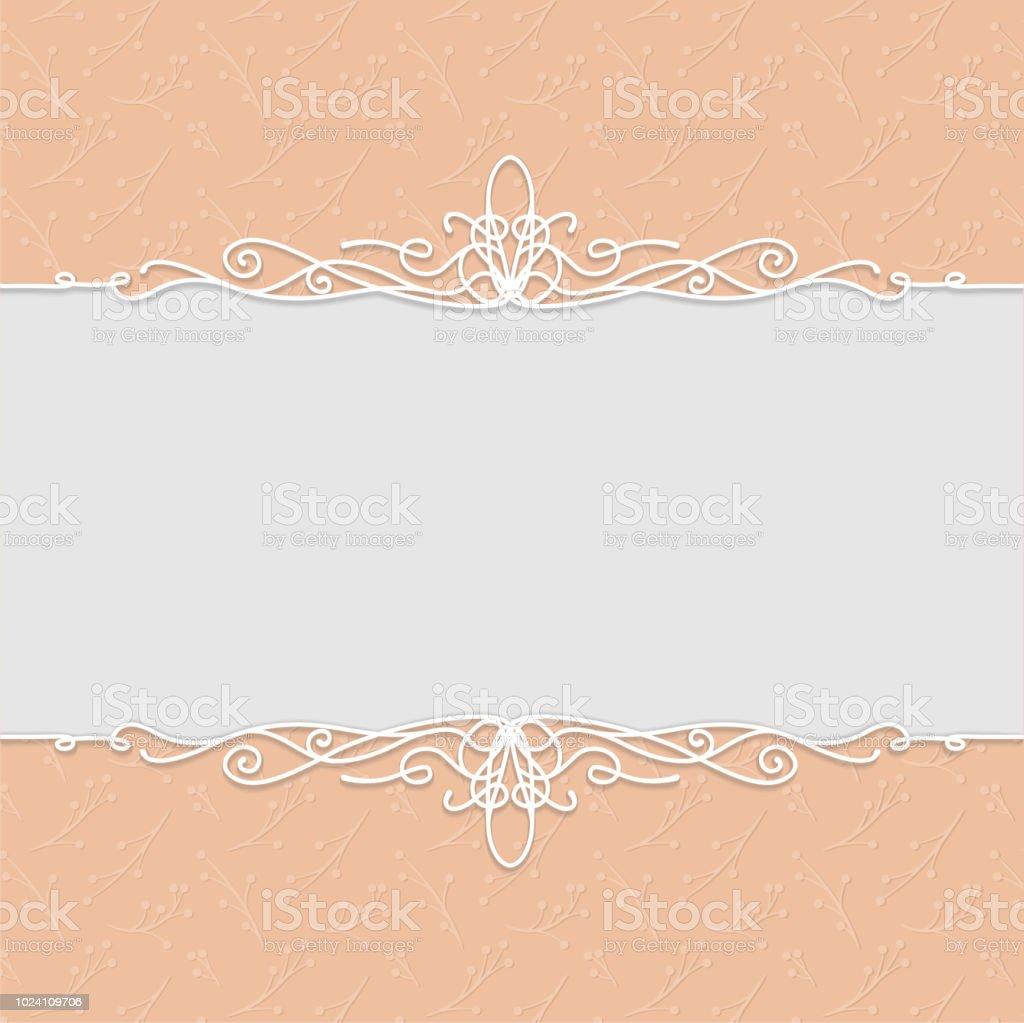 Vektorschönen Rahmen In Pfirsichfarbe Für Hochzeitseinladungen