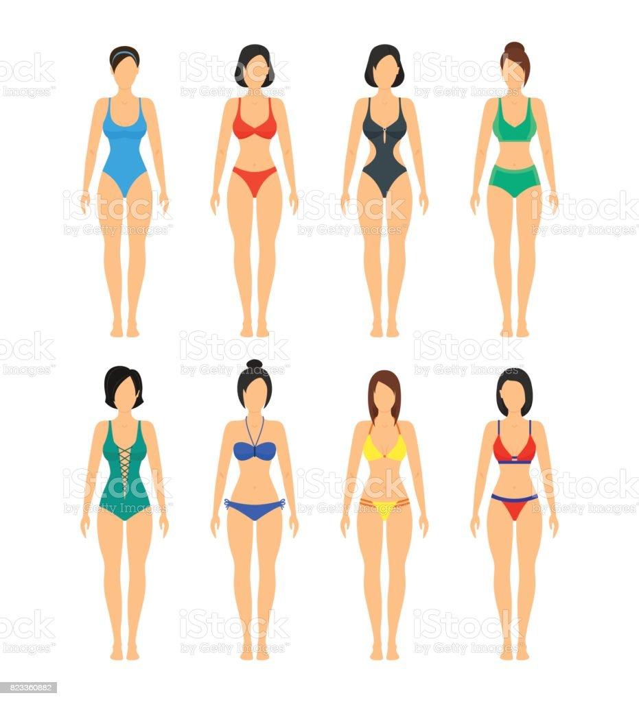Vektor-schöne Mädchen in Badeanzügen Farbtabelle. – Vektorgrafik
