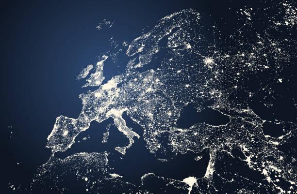 illustrations, cliparts, dessins animés et icônes de vecteur belle illustration des villes d'europe éclaire la carte - carte europe