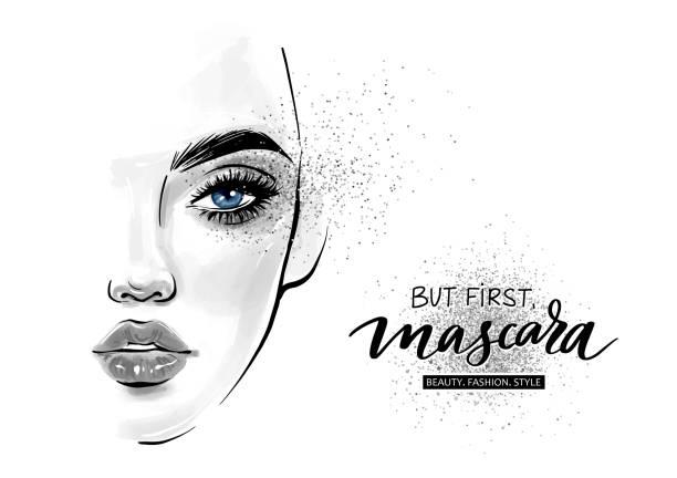 bildbanksillustrationer, clip art samt tecknat material och ikoner med vektor vacker kvinna ansikte. men först. mascara. - sparkle teen girl