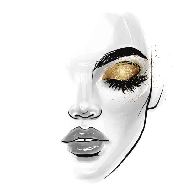 bildbanksillustrationer, clip art samt tecknat material och ikoner med vektor vacker ung kvinna ansikte. mode skiss illustration - sparkle teen girl