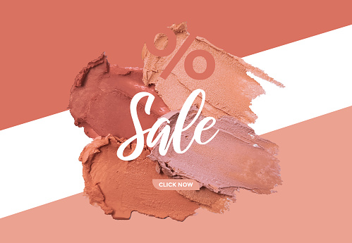 Vector beauty cosmetic sale web banner with realistic make-up smear smudge, face foundation, art painting, cosmetic beautician design, sale banner with make up flower