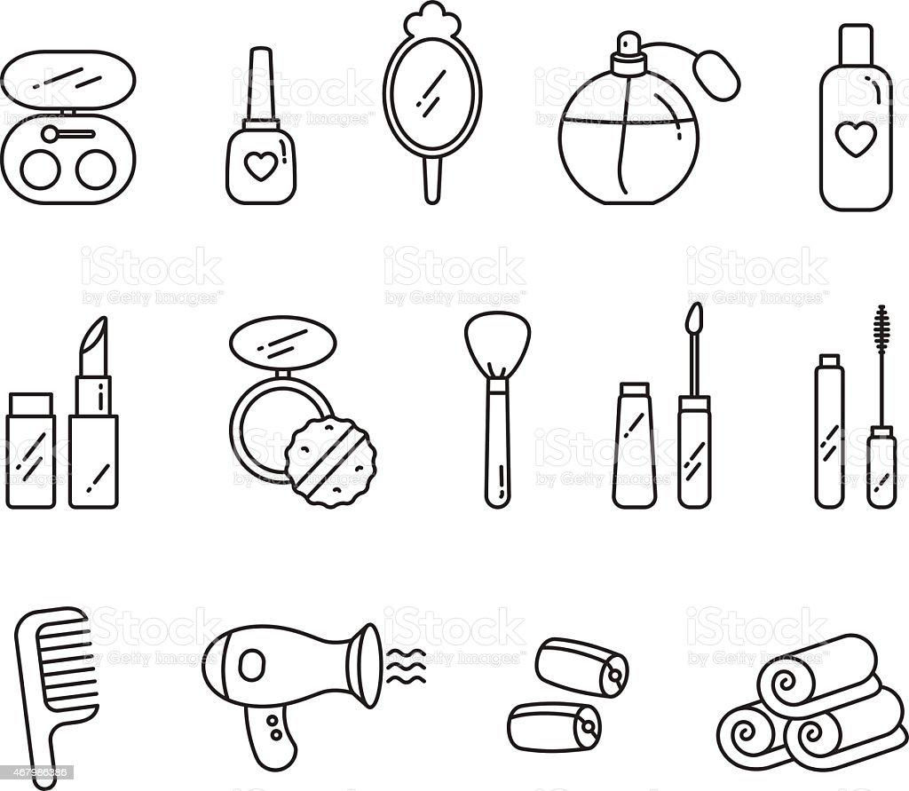 Vector Beauty, Face and Hair Care icon set vector art illustration
