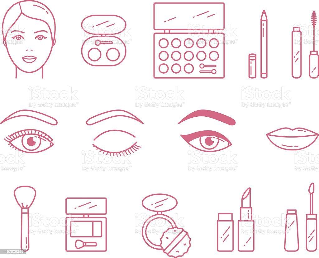 Vektor Schönheit Make-Up Kosmetik icon-set – Vektorgrafik