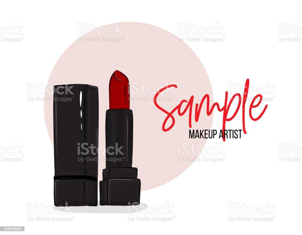 Vector beauty salon business card cpsmetic design female business vector beauty salon business card cpsmetic design female business hand drawn illustration lipstick colourmoves
