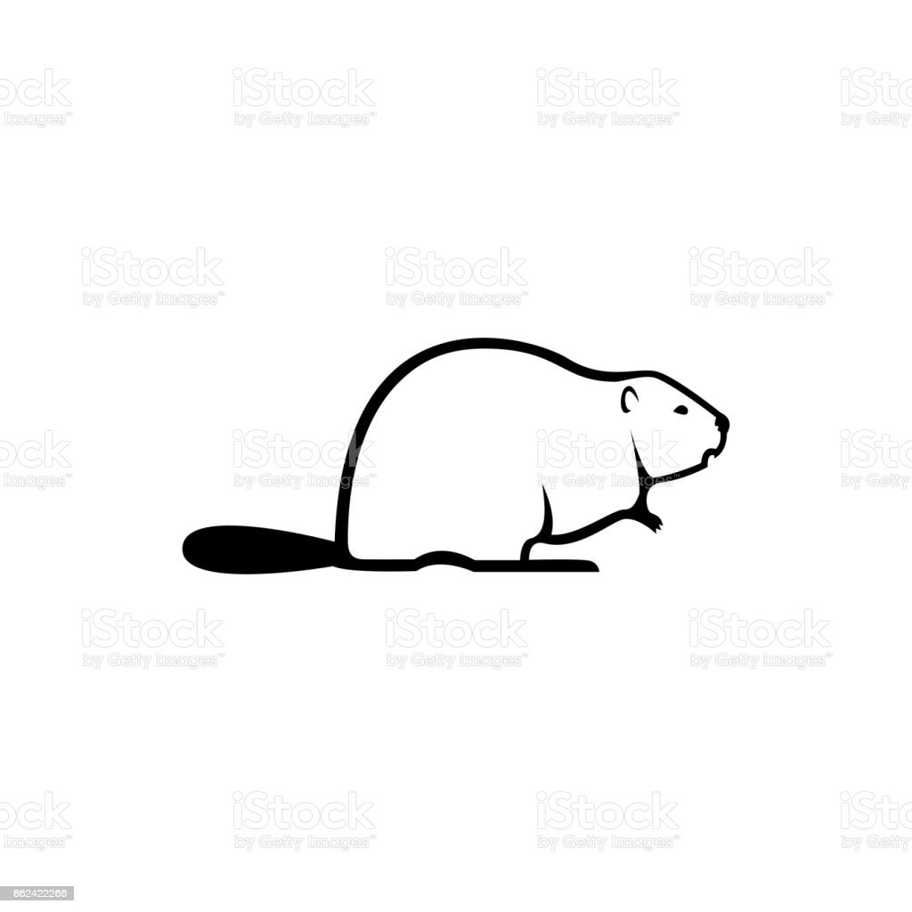 Vector beaver silhouette view side for retro symbols, emblems, badges, labels template vintage design element. Isolated on white background vector art illustration